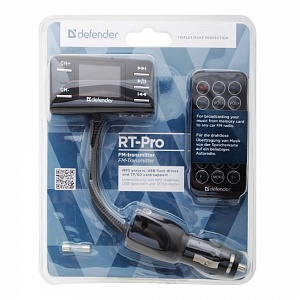 FM-модулятор Defender RT-PRO USB, Micro SD, AUX, LCD, пульт